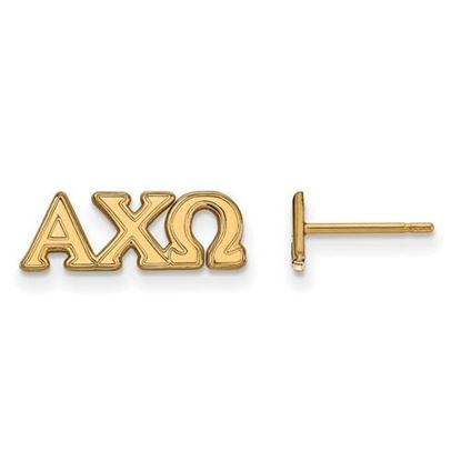 Picture of Alpha Chi Omega Sorority Sterling Silver Gold Plated Extra Small Post Earrings