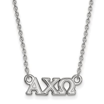 Picture of Alpha Chi Omega Sorority Sterling Silver Extra Small Pendant Necklace