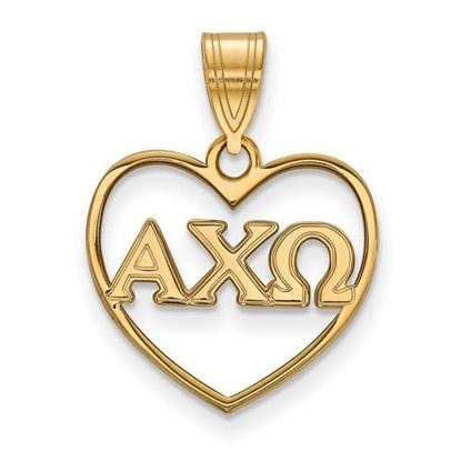 Picture of Alpha Chi Omega Sorority Sterling Silver Gold Plated Heart Pendant