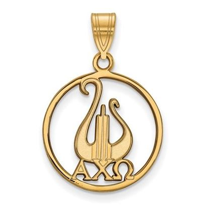 Picture of Alpha Chi Omega Sorority Sterling Silver Gold Plated Small Circle Pendant