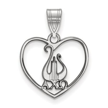 Picture of Alpha Chi Omega Sorority Sterling Silver Heart Pendant