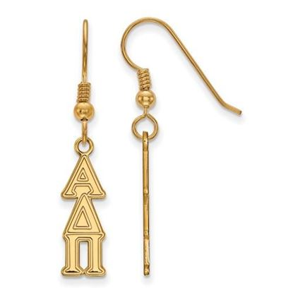 Picture of Alpha Delta Pi Sorority Sterling Silver Gold Plated Small Dangle Earrings