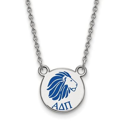 Picture of Alpha Delta Pi Sorority Sterling Silver Extra Small Enameled Pendant Necklace