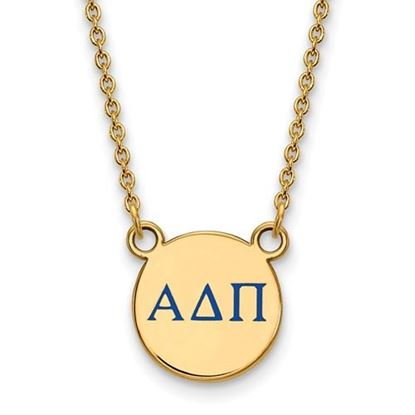 Picture of Alpha Delta Pi Sorority Sterling Silver Gold Plated Extra Small Enameled Pendant Necklace