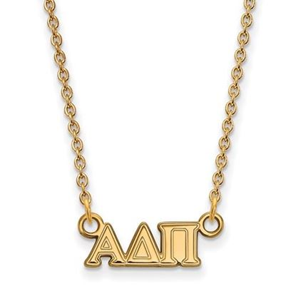 Picture of Alpha Delta Pi Sorority Sterling Silver Gold Plated Extra Small Pendant Necklace