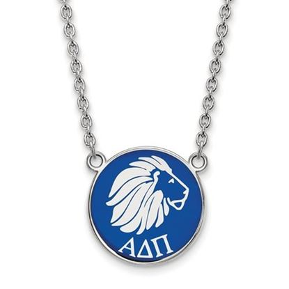Picture of Alpha Delta Pi Sorority Sterling Silver Medium Enameled Pendant Necklace