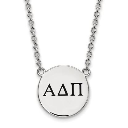 Picture of Alpha Delta Pi Sorority Sterling Silver Small Enameled Pendant Necklace