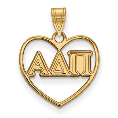 Picture of Alpha Delta Pi Sorority Sterling Silver Gold Plated Heart Pendant