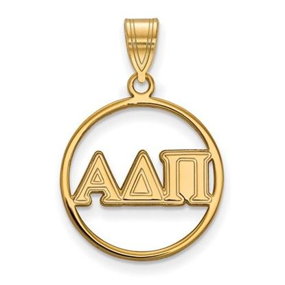 Picture of Alpha Delta Pi Sorority Sterling Silver Gold Plated Small Circle Pendant