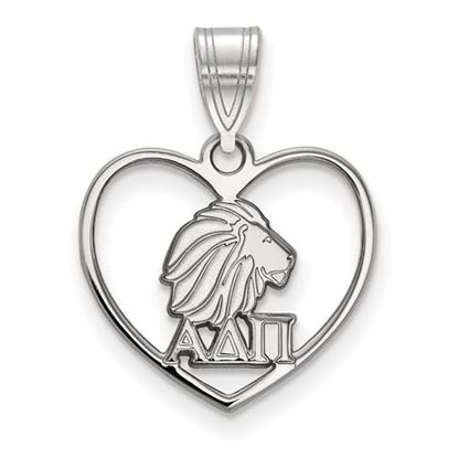 Picture of Alpha Delta Pi Sorority Sterling Silver Heart Pendant