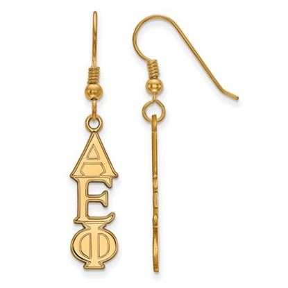 Picture of Alpha Epsilon Phi Sorority Sterling Silver Gold Plated Dangle Medium Earrings