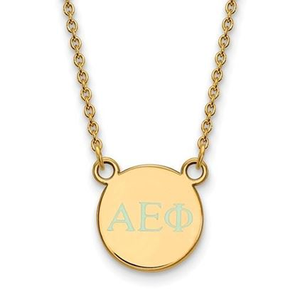 Picture of Alpha Epsilon Phi Sorority Sterling Silver Gold Plated Extra Small Enameled Pendant Necklace