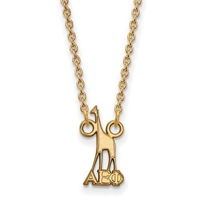 Picture of Alpha Epsilon Phi Sorority Sterling Silver Gold Plated Extra Small Pendant Necklace