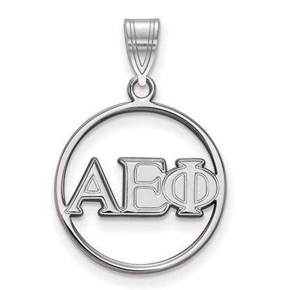 Picture of Alpha Epsilon Phi Sorority Sterling Silver Circle Pendant