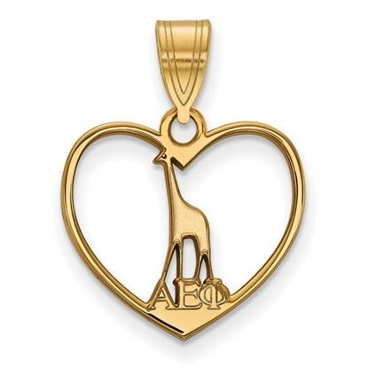 Picture of Alpha Epsilon Phi Sorority Gold Plated Giraffe Heart Pendant