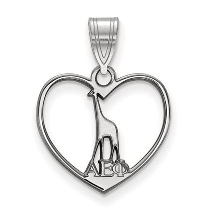 Picture of Alpha Epsilon Phi Sorority Sterling Silver Heart Pendant