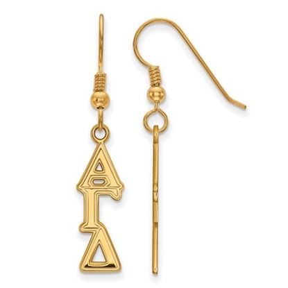 Picture of Alpha Gamma Delta Sorority Sterling Silver Gold Plated Dangle Medium Earrings