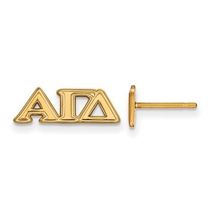 Picture of Alpha Gamma Delta Sorority Sterling Silver Gold Plated Extra Small Post Earrings