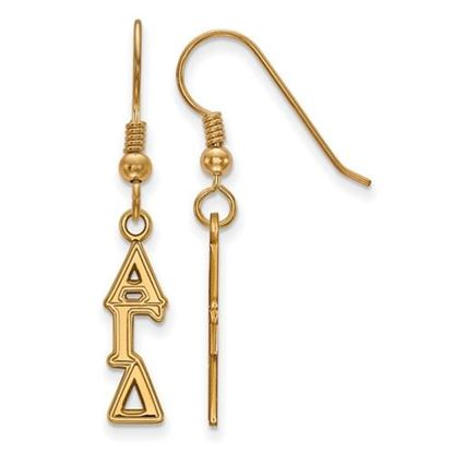 Picture of Alpha Gamma Delta Sorority Sterling Silver Gold Plated Small Dangle Earrings