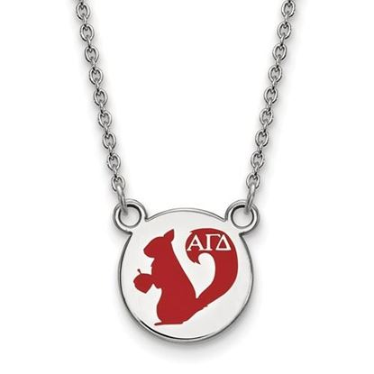 Picture of Alpha Gamma Delta Sorority Sterling Silver Extra Small Enameled Pendant Necklace
