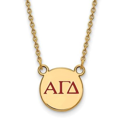 Picture of Alpha Gamma Delta Sorority Sterling Silver Gold Plated Extra Small Enameled Pendant Necklace