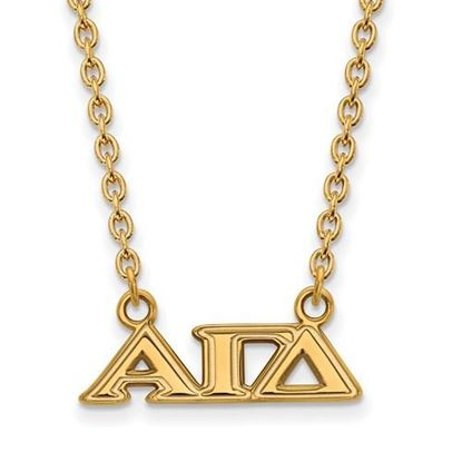 Picture of Alpha Gamma Delta Sorority Sterling Silver Gold Plated Medium Pendant Necklace