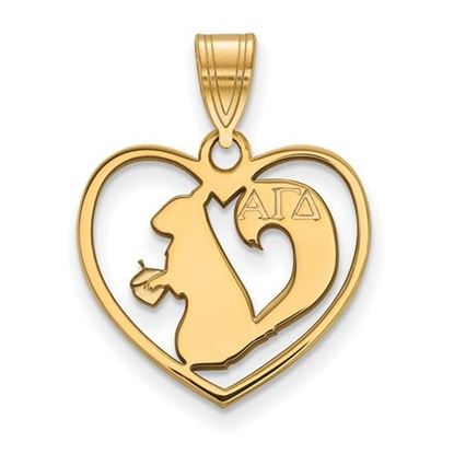 Picture of Alpha Gamma Delta Sorority Sterling Silver Gold Plated Heart Pendant