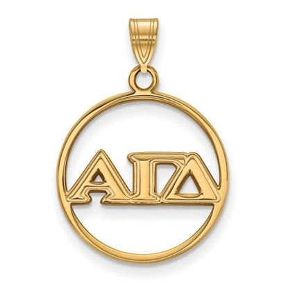 Picture of Alpha Gamma Delta Sorority Sterling Silver Gold Plated Small Circle Pendant