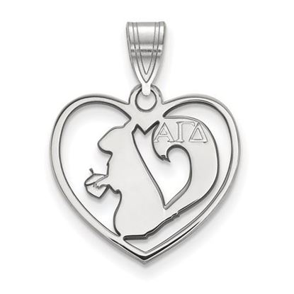 Picture of Alpha Gamma Delta Sorority Sterling Silver Heart Pendant