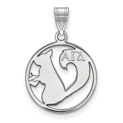 Picture of Alpha Gamma Delta Sorority Sterling Silver Small Circle Pendant
