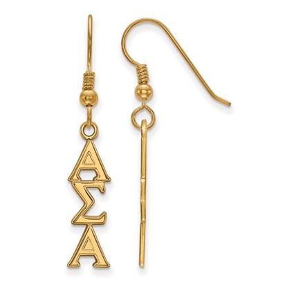 Picture of Alpha Sigma Alpha Sorority Sterling Silver Gold Plated Dangle Medium Earrings