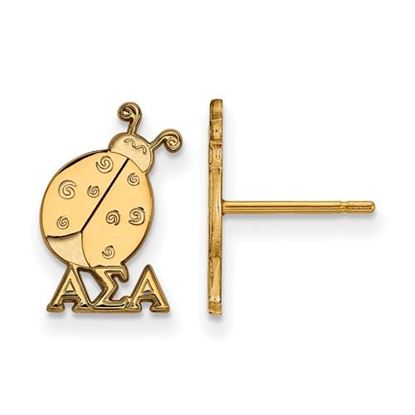 Picture of Alpha Sigma Alpha Sorority Sterling Silver Gold Plated Extra Small Post Earrings
