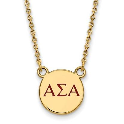 Picture of Alpha Sigma Alpha Sorority Sterling Silver Gold Plated Extra Small Enameled Pendant Necklace