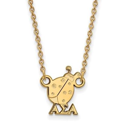 Picture of Alpha Sigma Alpha Sorority Sterling Silver Gold Plated Extra Small Pendant Necklace