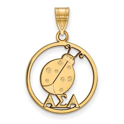 Picture of Alpha Sigma Alpha Sorority Sterling Silver Gold Plated Small Circle Pendant