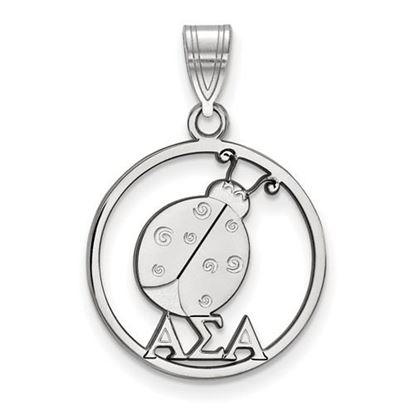Picture of Alpha Sigma Alpha Sorority Sterling Silver Small Circle Pendant