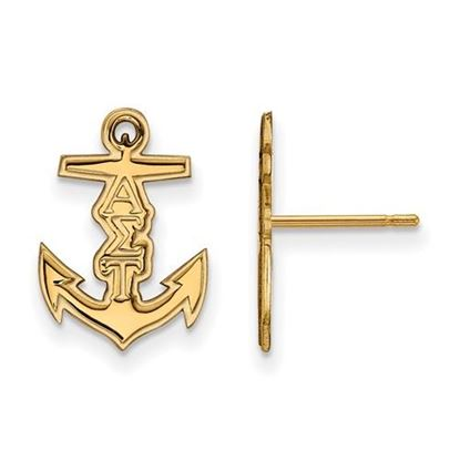 Picture of Alpha Sigma Tau Sorority Sterling Silver Gold Plated Extra Small Post Earrings