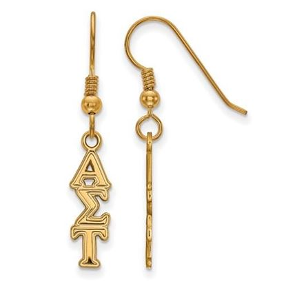 Picture of Alpha Sigma Tau Sorority Sterling Silver Gold Plated Small Dangle Earrings