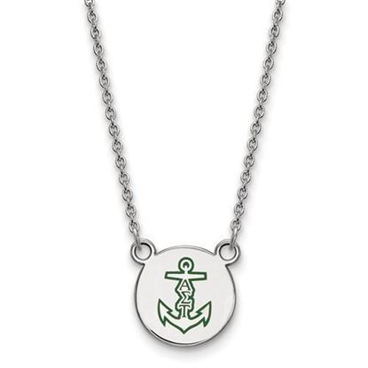 Picture of Alpha Sigma Tau Sorority Sterling Silver Extra Small Enameled Pendant Necklace