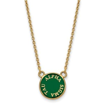 Picture of Alpha Sigma Tau Sorority Sterling Silver Gold Plated Extra Small Enameled Pendant Necklace