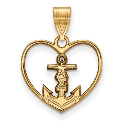 Picture of Alpha Sigma Tau Sorority Sterling Silver Gold Plated Heart Pendant