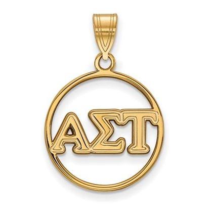 Picture of Alpha Sigma Tau Sorority Sterling Silver Gold Plated Small Circle Pendant