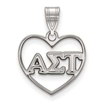 Picture of Alpha Sigma Tau Sorority Sterling Silver Heart Pendant