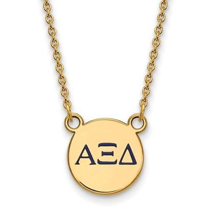 Picture of Alpha Xi Delta Sorority Sterling Silver Gold Plated Extra Small Enameled Pendant Necklace
