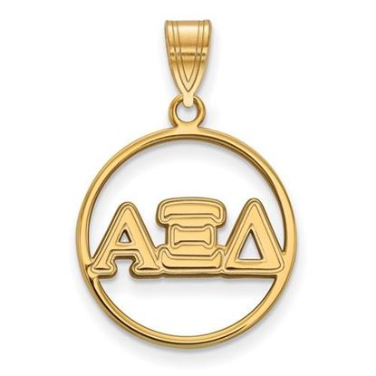 Picture of Alpha Xi Delta Sorority Sterling Silver Gold Plated Small Circle Pendant