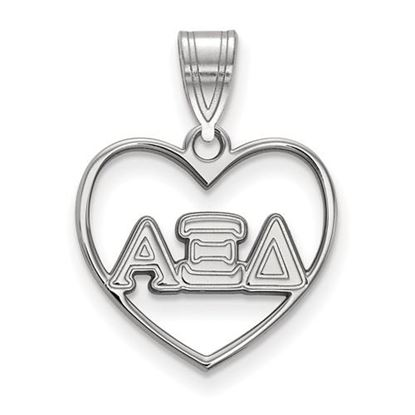 Picture of Alpha Xi Delta Sorority Sterling Silver Heart Pendant