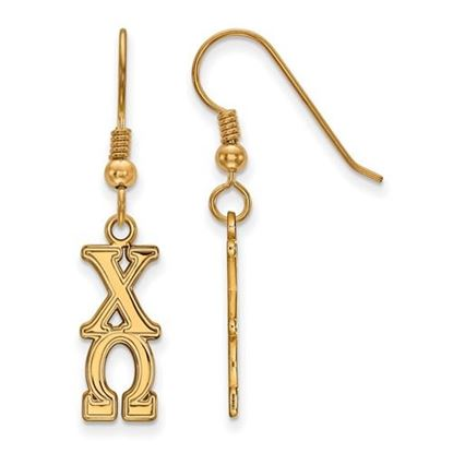 Picture of Chi Omega Sorority Sterling Silver Gold Plated Dangle Medium Earrings