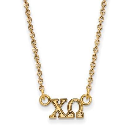 Picture of Chi Omega Sorority Sterling Silver Gold Plated Extra Small Pendant Necklace