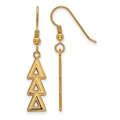 Picture of Delta Delta Delta Sorority Sterling Silver Gold Plated Dangle Medium Earrings