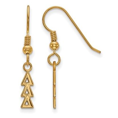 Picture of Delta Delta Delta Sorority Sterling Silver Gold Plated Small Dangle Earrings